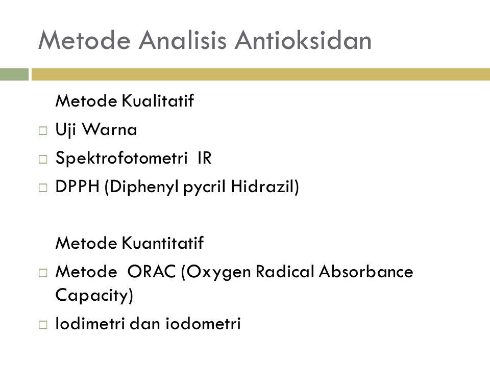 Metode Analisis Antioksidan Metode Kualitatif  Uji Warna  Spektrofotometri IR  DPPH (Diphenyl pycril Hidrazil) Metode Kuantitatif  Metode ORAC (Oxygen Radical Absorbance Capacity)  Iodimetri dan iodometri