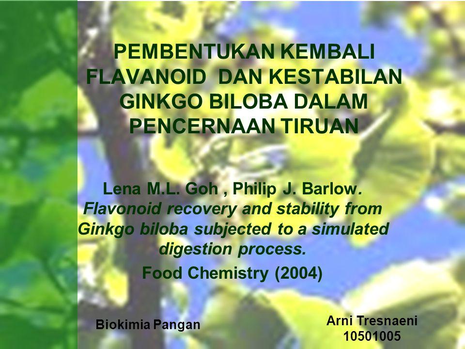 Biokimia Pangan Arni Tresnaeni 10501005 Abstrak Penyerapan Gingko biloba dari pola makan diet secara normal dapat memenuhi persyaratan untuk berpontensial dalam sel dari pemanfaatan kandungan flavonoid.