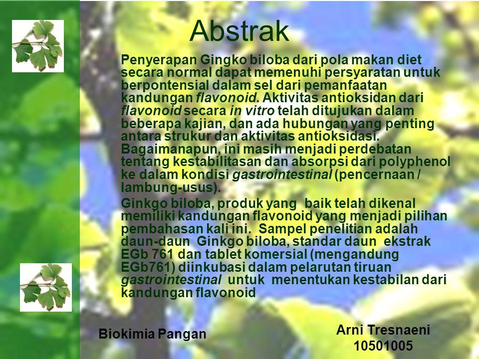 Biokimia Pangan Arni Tresnaeni 10501005 Abstrak Penyerapan Gingko biloba dari pola makan diet secara normal dapat memenuhi persyaratan untuk berponten