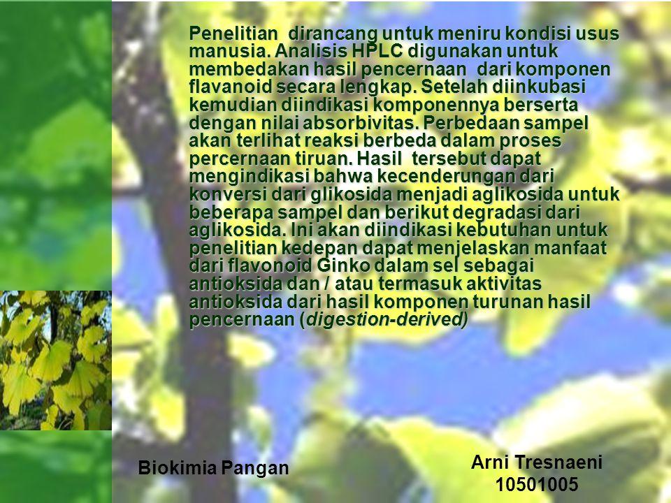 Biokimia Pangan Arni Tresnaeni 10501005 Penelitian dirancang untuk meniru kondisi usus manusia. Analisis HPLC digunakan untuk membedakan hasil pencern