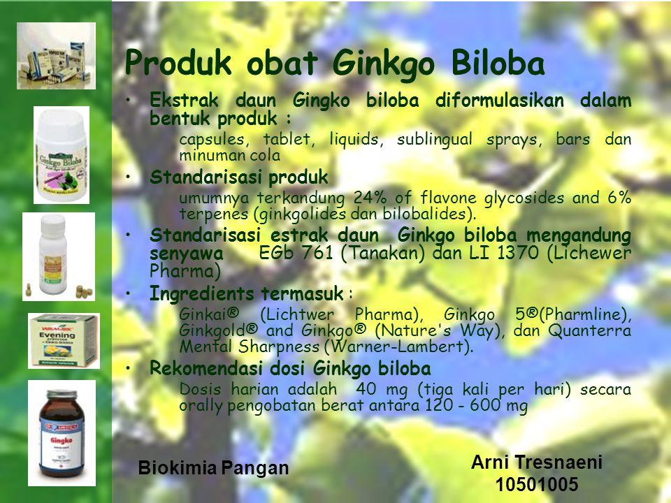 Biokimia Pangan Arni Tresnaeni 10501005 Produk obat Ginkgo Biloba Ekstrak daun Gingko biloba diformulasikan dalam bentuk produk : capsules, tablet, li