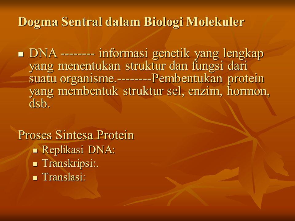 Dogma Sentral dalam Biologi Molekuler DNA -------- informasi genetik yang lengkap yang menentukan struktur dan fungsi dari suatu organisme.--------Pem