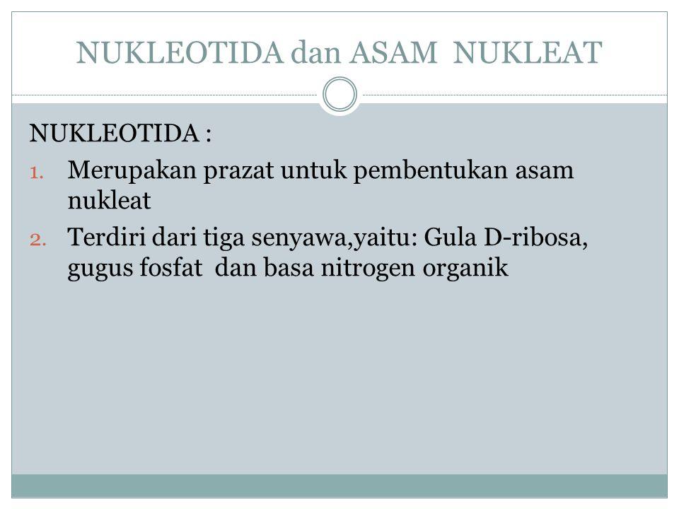 NUKLEOTIDA dan ASAM NUKLEAT NUKLEOTIDA : 1. Merupakan prazat untuk pembentukan asam nukleat 2. Terdiri dari tiga senyawa,yaitu: Gula D-ribosa, gugus f