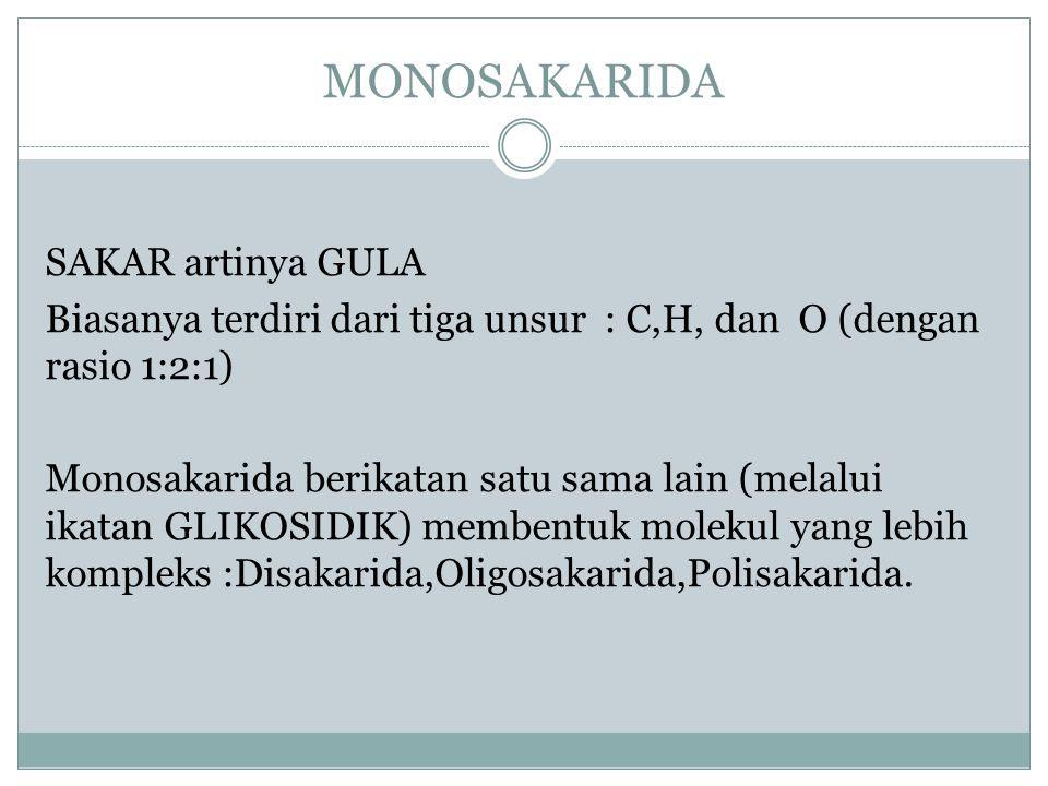 MONOSAKARIDA SAKAR artinya GULA Biasanya terdiri dari tiga unsur : C,H, dan O (dengan rasio 1:2:1) Monosakarida berikatan satu sama lain (melalui ikat