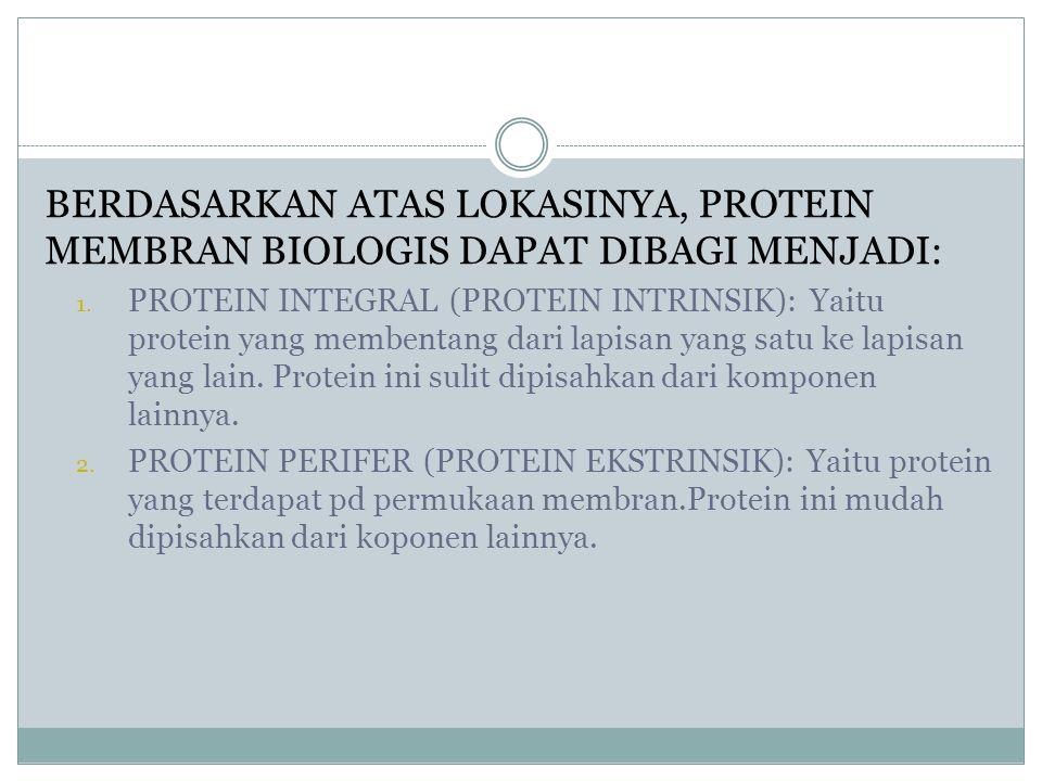 BERDASARKAN ATAS LOKASINYA, PROTEIN MEMBRAN BIOLOGIS DAPAT DIBAGI MENJADI: 1. PROTEIN INTEGRAL (PROTEIN INTRINSIK): Yaitu protein yang membentang dari
