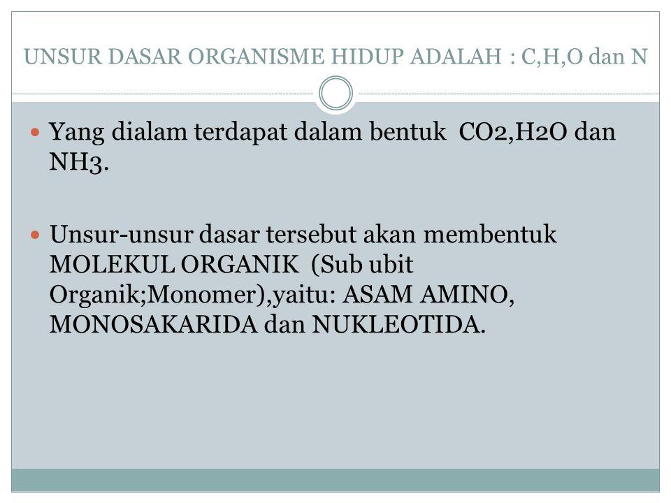 UNSUR DASAR ORGANISME HIDUP ADALAH : C,H,O dan N Yang dialam terdapat dalam bentuk CO2,H2O dan NH3. Unsur-unsur dasar tersebut akan membentuk MOLEKUL