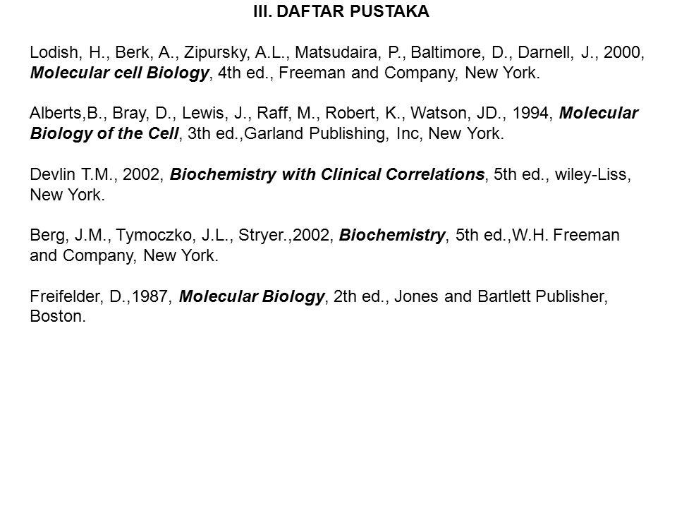 III. DAFTAR PUSTAKA Lodish, H., Berk, A., Zipursky, A.L., Matsudaira, P., Baltimore, D., Darnell, J., 2000, Molecular cell Biology, 4th ed., Freeman a