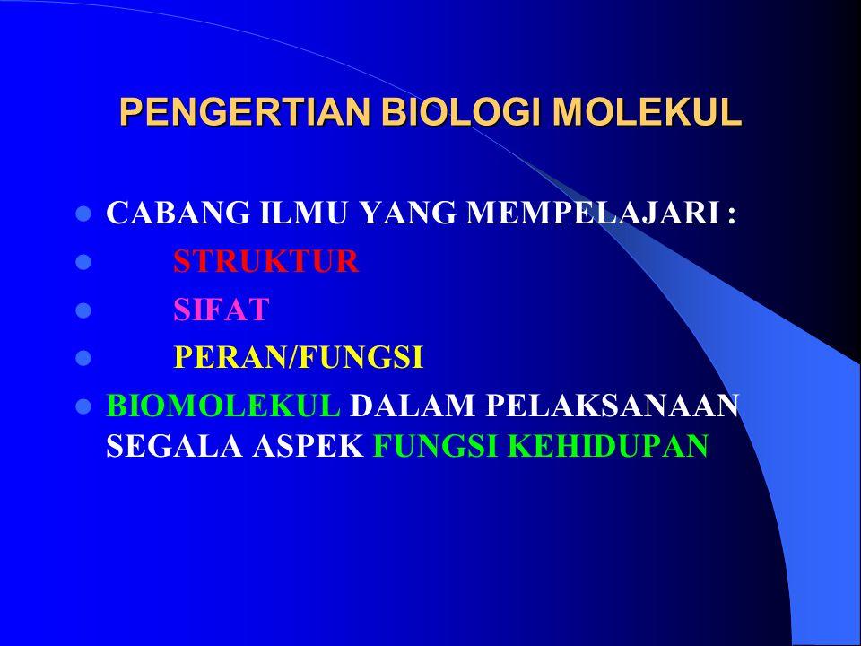 PENGERTIAN BIOLOGI MOLEKUL CABANG ILMU YANG MEMPELAJARI : STRUKTUR SIFAT PERAN/FUNGSI BIOMOLEKUL DALAM PELAKSANAAN SEGALA ASPEK FUNGSI KEHIDUPAN
