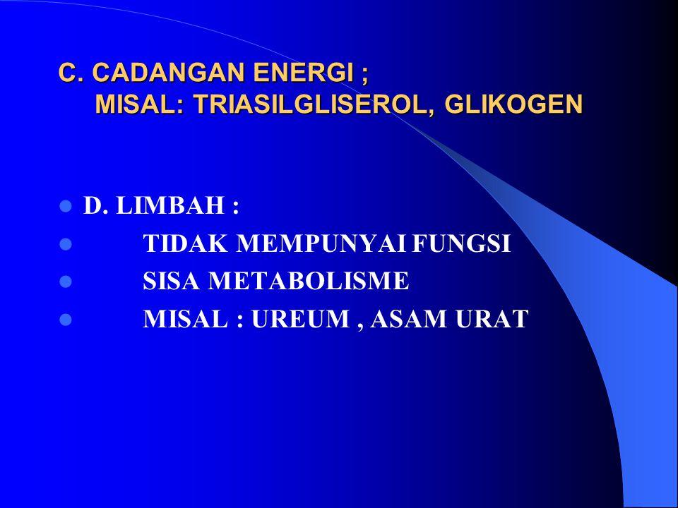 C. CADANGAN ENERGI ; MISAL: TRIASILGLISEROL, GLIKOGEN D. LIMBAH : TIDAK MEMPUNYAI FUNGSI SISA METABOLISME MISAL : UREUM, ASAM URAT