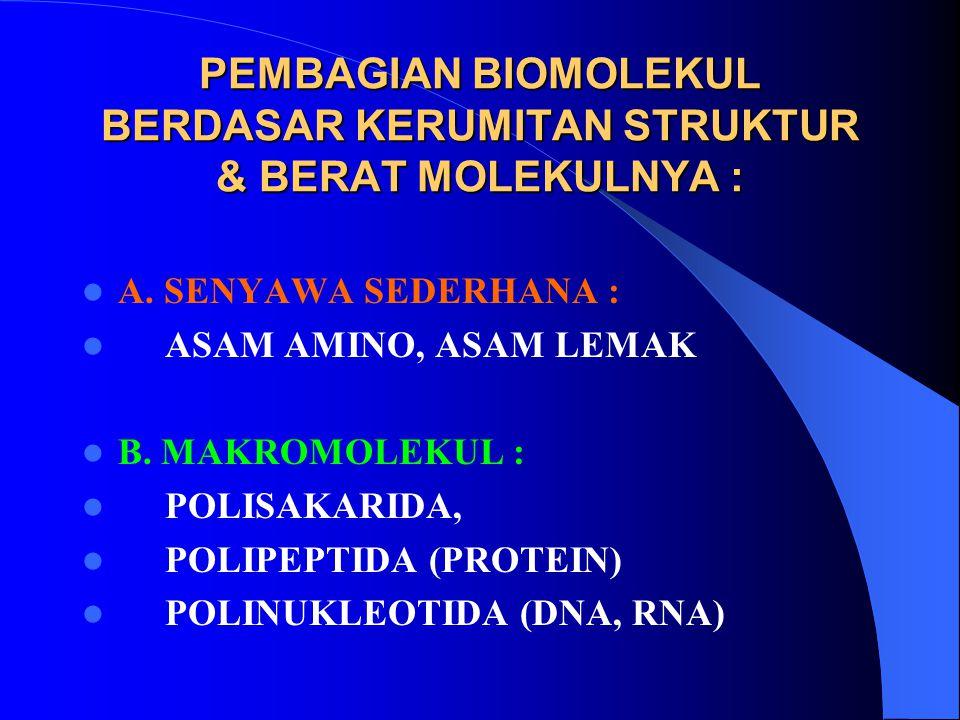 PEMBAGIAN BIOMOLEKUL BERDASAR KERUMITAN STRUKTUR & BERAT MOLEKULNYA : A. SENYAWA SEDERHANA : ASAM AMINO, ASAM LEMAK B. MAKROMOLEKUL : POLISAKARIDA, PO