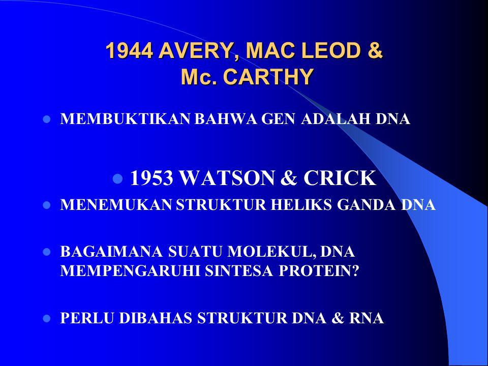 1944 AVERY, MAC LEOD & Mc. CARTHY MEMBUKTIKAN BAHWA GEN ADALAH DNA 1953 WATSON & CRICK MENEMUKAN STRUKTUR HELIKS GANDA DNA BAGAIMANA SUATU MOLEKUL, DN
