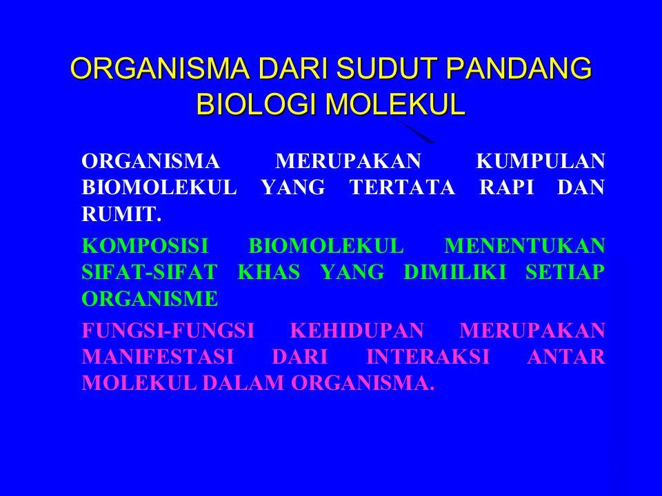 ORGANISMA DARI SUDUT PANDANG BIOLOGI MOLEKUL ORGANISMA MERUPAKAN KUMPULAN BIOMOLEKUL YANG TERTATA RAPI DAN RUMIT. KOMPOSISI BIOMOLEKUL MENENTUKAN SIFA