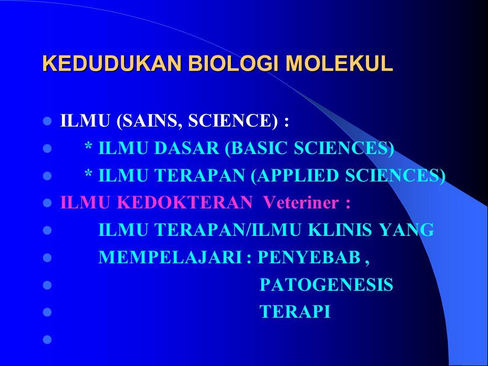 KEDUDUKAN BIOLOGI MOLEKUL ILMU (SAINS, SCIENCE) : * ILMU DASAR (BASIC SCIENCES) * ILMU TERAPAN (APPLIED SCIENCES) ILMU KEDOKTERAN Veteriner : ILMU TER