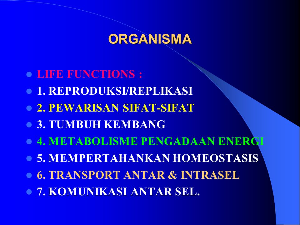 DIPANDANG DARI KEMAMPUAN MENGUBAH SENYAWA KIMIA, ORGANISMA DIBAGI : ORGANISMA AUTOTROFIK : Hanya memerlukan SENYAWA INORGANIK (CO2, H2O, NH3) untuk membentuk senyawa yang dibutuhkan.
