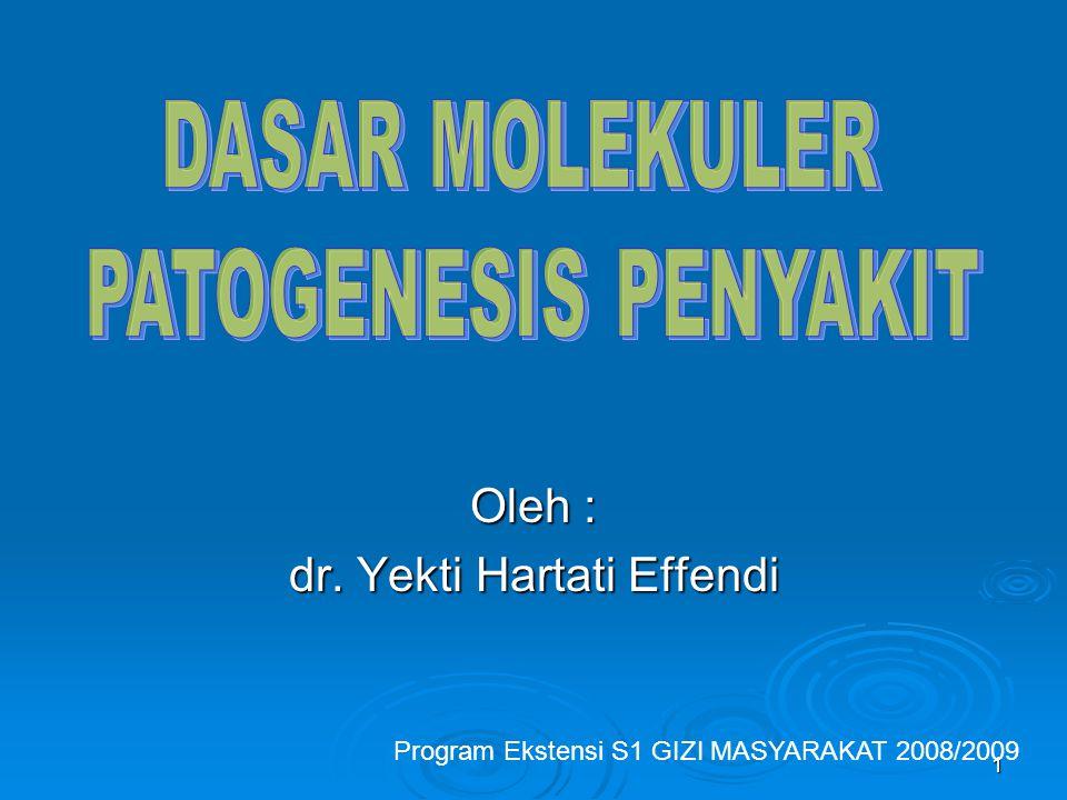 1 Oleh : dr. Yekti Hartati Effendi Program Ekstensi S1 GIZI MASYARAKAT 2008/2009