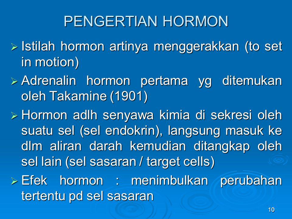 10 PENGERTIAN HORMON  Istilah hormon artinya menggerakkan (to set in motion)  Adrenalin hormon pertama yg ditemukan oleh Takamine (1901)  Hormon ad