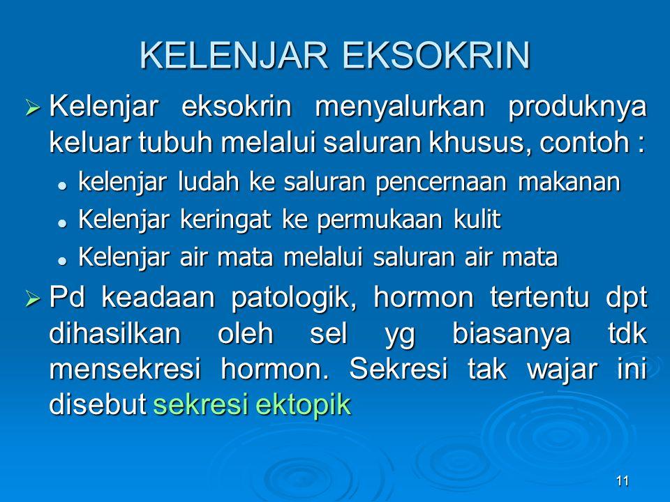 11 KELENJAR EKSOKRIN  Kelenjar eksokrin menyalurkan produknya keluar tubuh melalui saluran khusus, contoh : kelenjar ludah ke saluran pencernaan maka