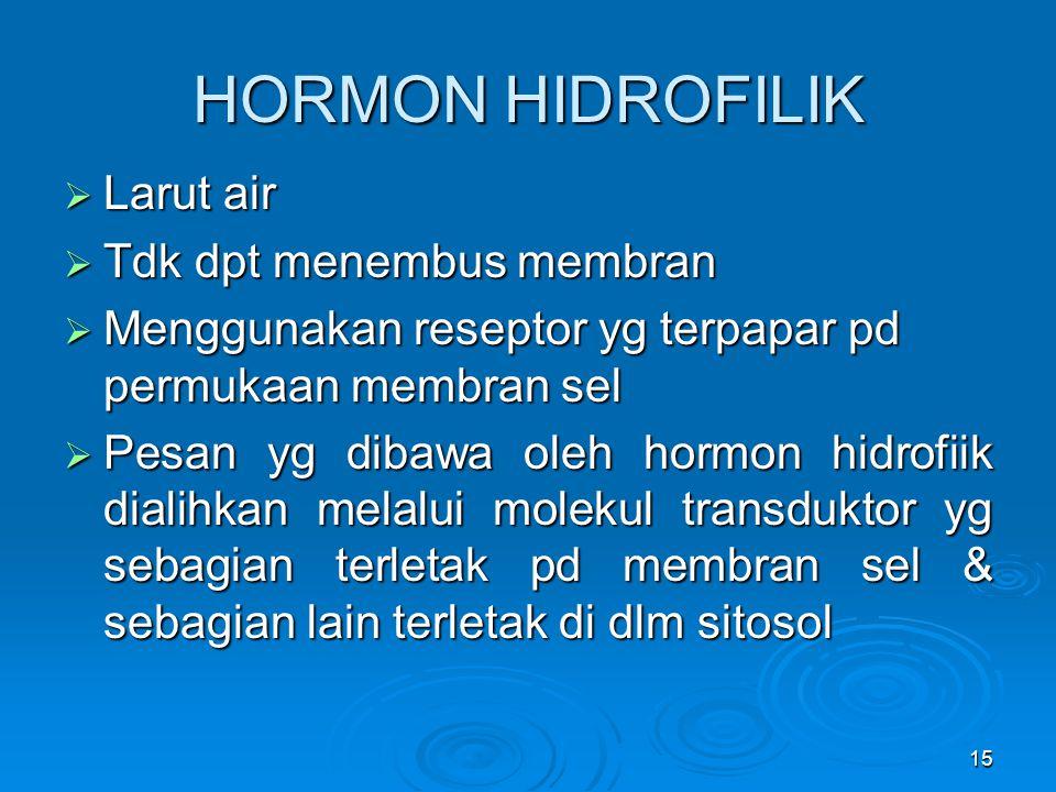 15 HORMON HIDROFILIK  Larut air  Tdk dpt menembus membran  Menggunakan reseptor yg terpapar pd permukaan membran sel  Pesan yg dibawa oleh hormon
