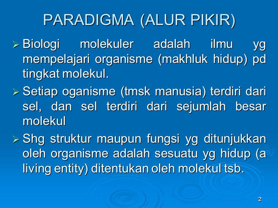2 PARADIGMA (ALUR PIKIR)  Biologi molekuler adalah ilmu yg mempelajari organisme (makhluk hidup) pd tingkat molekul.  Setiap oganisme (tmsk manusia)