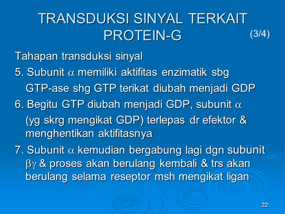 22 TRANSDUKSI SINYAL TERKAIT PROTEIN-G Tahapan transduksi sinyal 5. Subunit  memiliki aktifitas enzimatik sbg GTP-ase shg GTP terikat diubah menjadi