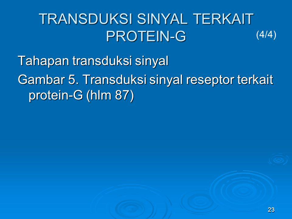 23 TRANSDUKSI SINYAL TERKAIT PROTEIN-G Tahapan transduksi sinyal Gambar 5. Transduksi sinyal reseptor terkait protein-G (hlm 87) (4/4)