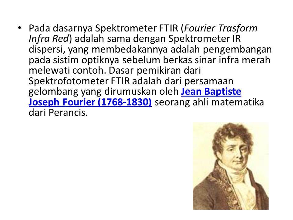 Pada dasarnya Spektrometer FTIR (Fourier Trasform Infra Red) adalah sama dengan Spektrometer IR dispersi, yang membedakannya adalah pengembangan pada