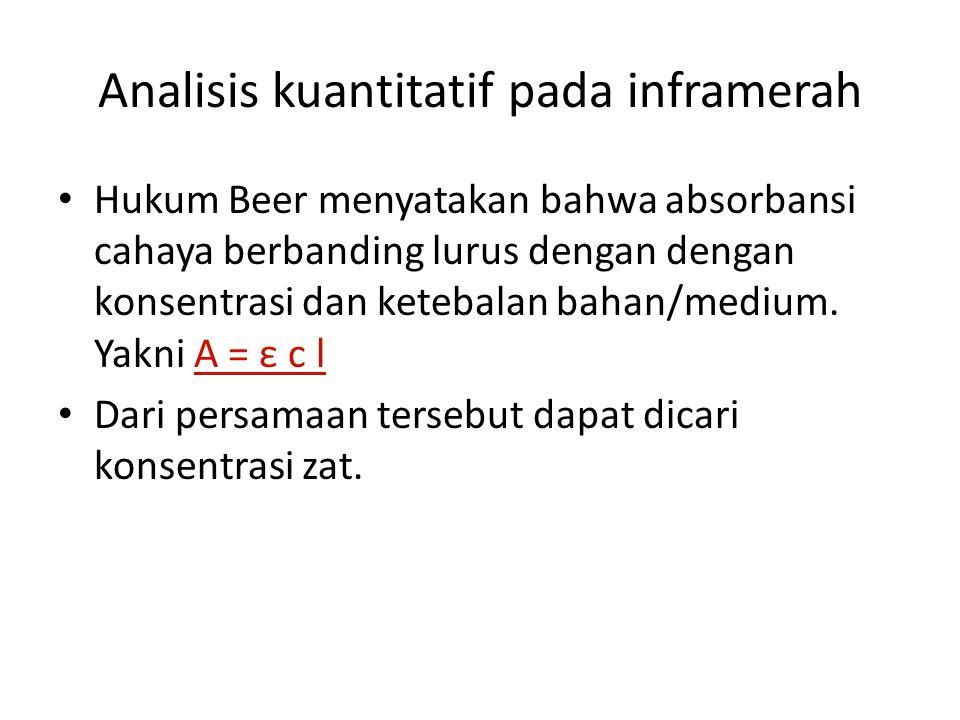 Analisis kuantitatif pada inframerah Hukum Beer menyatakan bahwa absorbansi cahaya berbanding lurus dengan dengan konsentrasi dan ketebalan bahan/medi