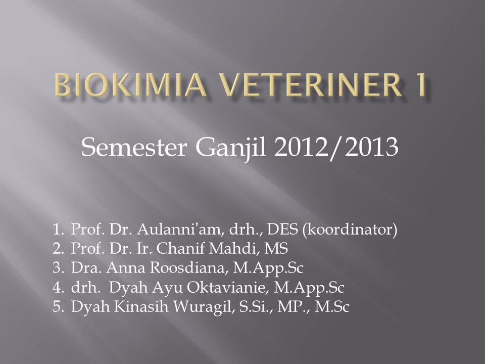 Semester Ganjil 2012/2013 1.Prof. Dr. Aulanni'am, drh., DES (koordinator) 2.Prof. Dr. Ir. Chanif Mahdi, MS 3.Dra. Anna Roosdiana, M.App.Sc 4.drh. Dyah