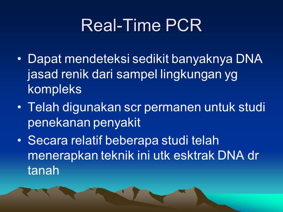 Real-Time PCR Dapat mendeteksi sedikit banyaknya DNA jasad renik dari sampel lingkungan yg kompleks Telah digunakan scr permanen untuk studi penekanan