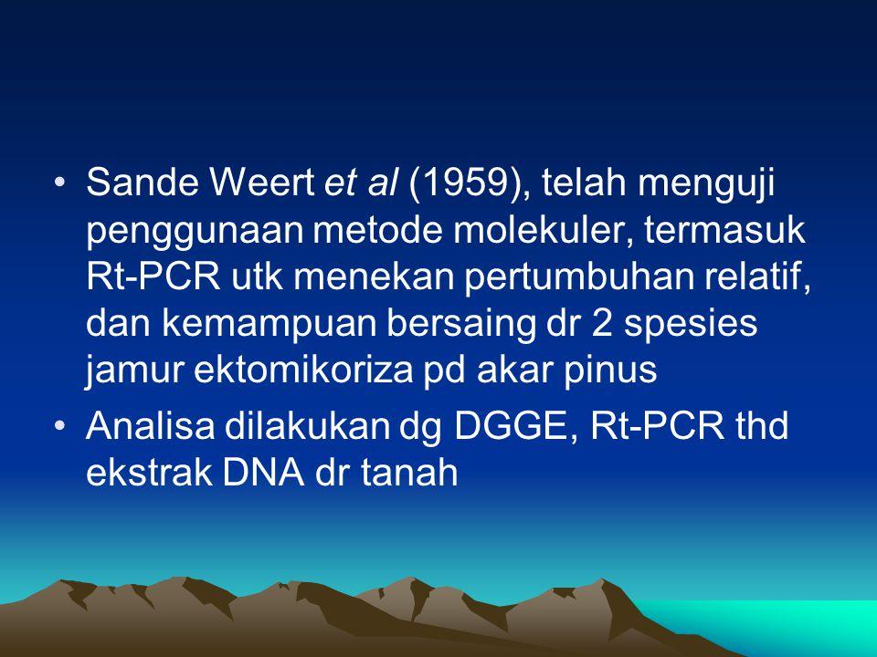 Sande Weert et al (1959), telah menguji penggunaan metode molekuler, termasuk Rt-PCR utk menekan pertumbuhan relatif, dan kemampuan bersaing dr 2 spes