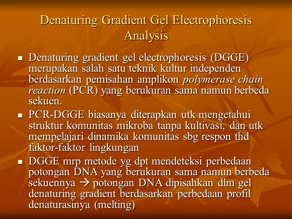 Denaturing gradient gel electrophoresis (DGGE) merupakan salah satu teknik kultur independen berdasarkan pemisahan amplikon polymerase chain reaction