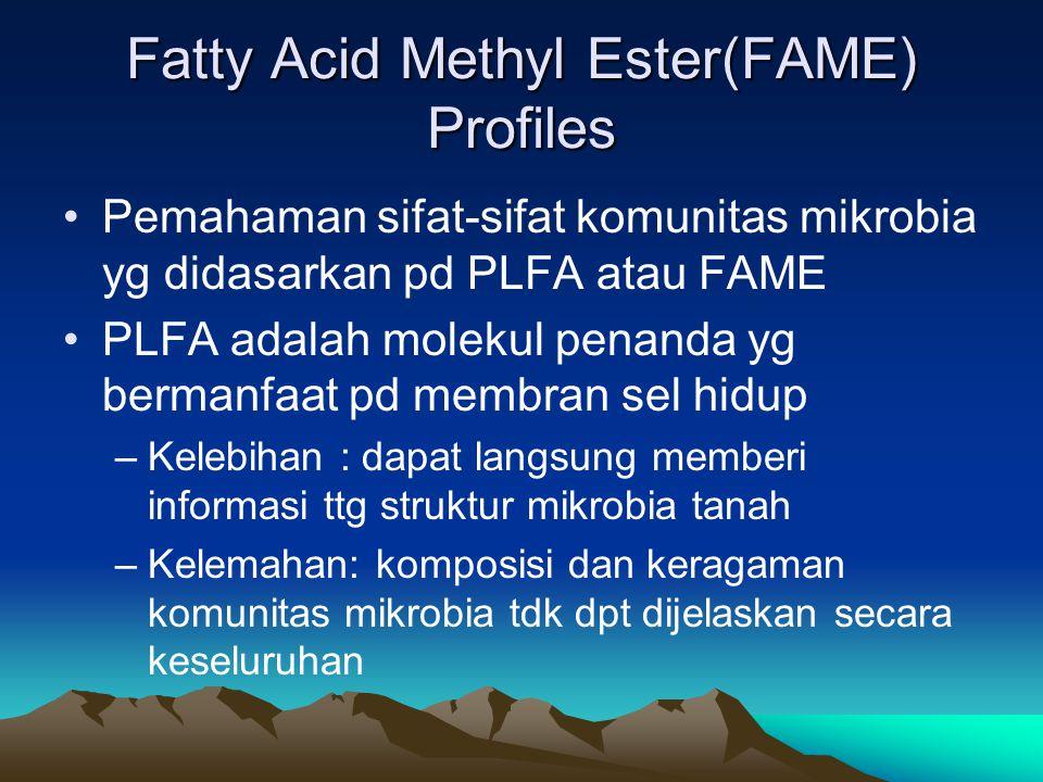 Fatty Acid Methyl Ester(FAME) Profiles Pemahaman sifat-sifat komunitas mikrobia yg didasarkan pd PLFA atau FAME PLFA adalah molekul penanda yg bermanf