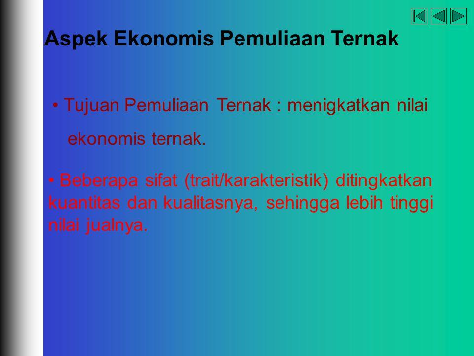 company name organization Aspek Ekonomis Pemuliaan Ternak Tujuan Pemuliaan Ternak : menigkatkan nilai ekonomis ternak. Beberapa sifat (trait/karakteri