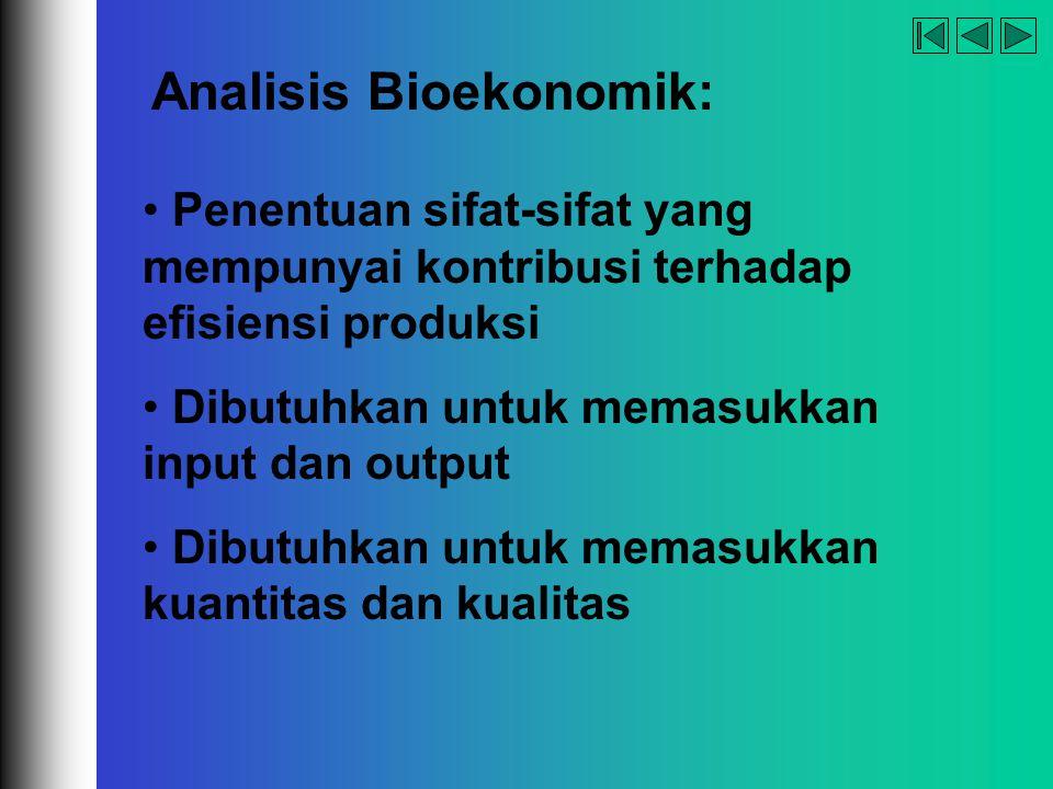 company name organization Analisis Bioekonomik: Penentuan sifat-sifat yang mempunyai kontribusi terhadap efisiensi produksi Dibutuhkan untuk memasukka