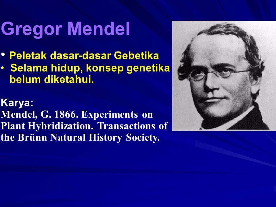 Gregor Mendel Peletak dasar-dasar Gebetika Selama hidup, konsep genetika belum diketahui. Karya: Mendel, G. 1866. Experiments on Plant Hybridization.