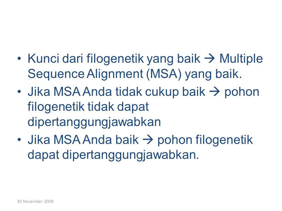 30 November 2008 Kunci dari filogenetik yang baik  Multiple Sequence Alignment (MSA) yang baik.