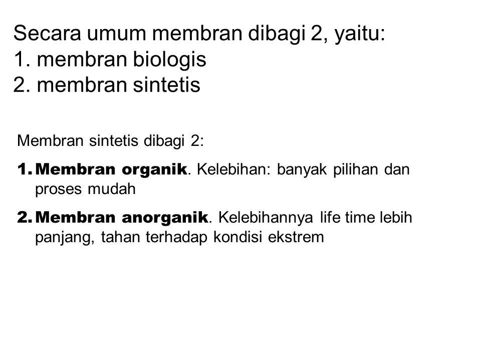 Secara umum membran dibagi 2, yaitu: 1. membran biologis 2. membran sintetis Membran sintetis dibagi 2: 1.Membran organik. Kelebihan: banyak pilihan d