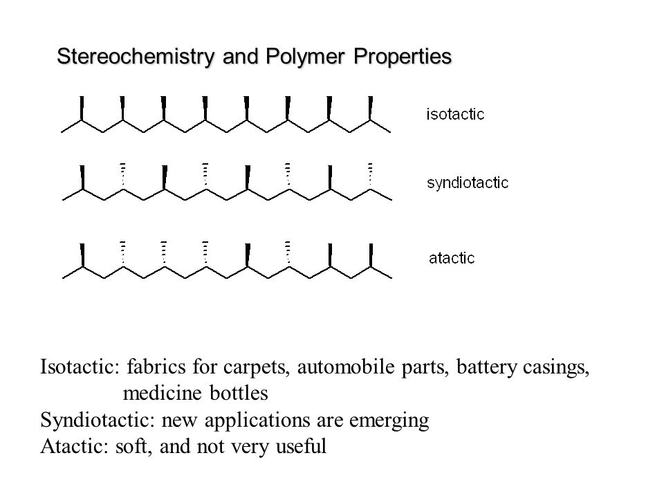 Stereochemistry and Polymer Properties Isotactic: fabrics for carpets, automobile parts, battery casings, medicine bottles Syndiotactic: new applicati