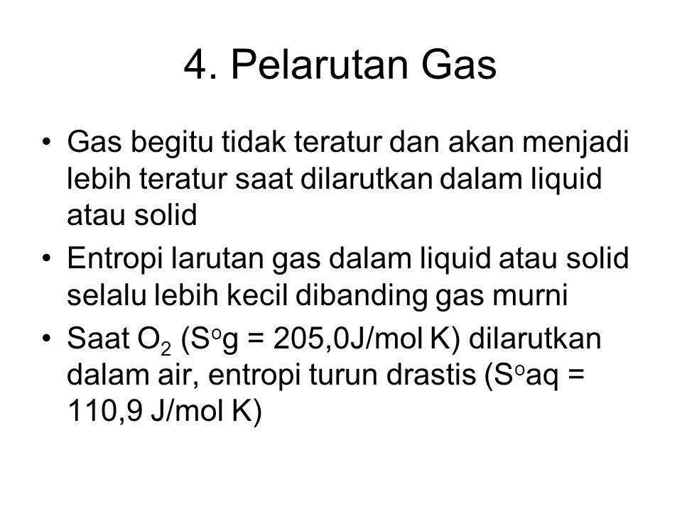 4. Pelarutan Gas Gas begitu tidak teratur dan akan menjadi lebih teratur saat dilarutkan dalam liquid atau solid Entropi larutan gas dalam liquid atau