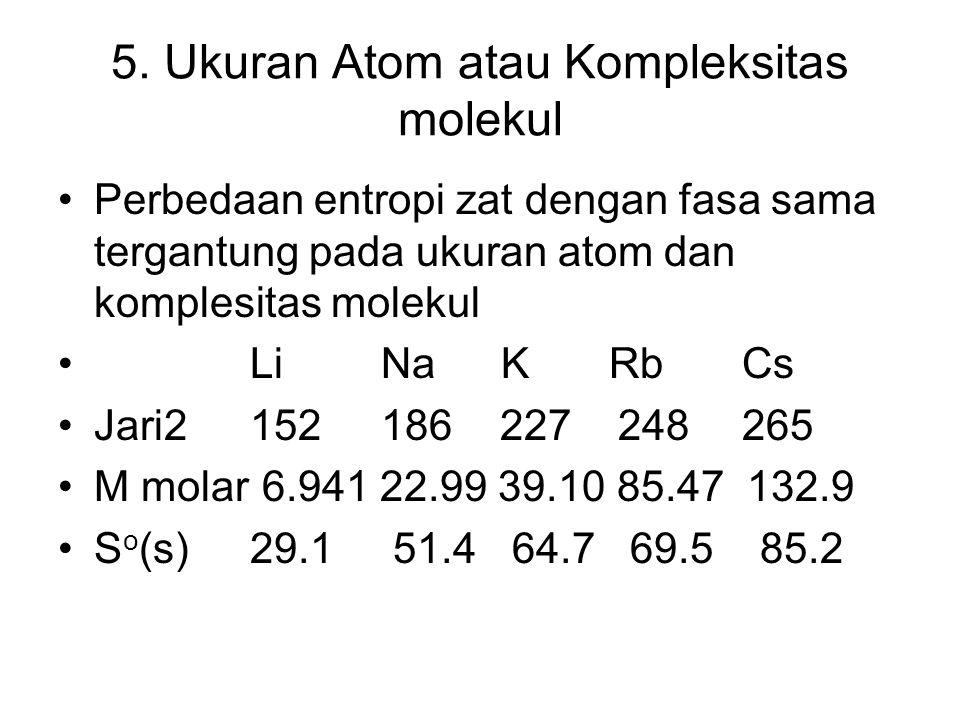 5. Ukuran Atom atau Kompleksitas molekul Perbedaan entropi zat dengan fasa sama tergantung pada ukuran atom dan komplesitas molekul Li Na K Rb Cs Jari