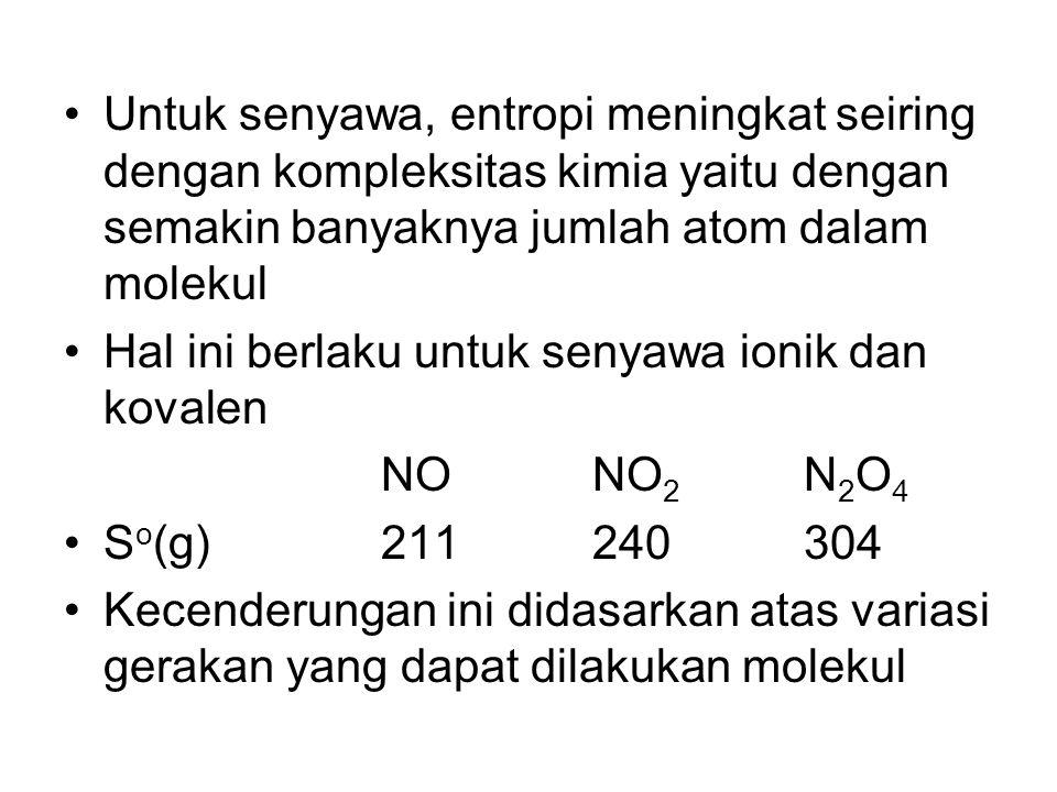Untuk senyawa, entropi meningkat seiring dengan kompleksitas kimia yaitu dengan semakin banyaknya jumlah atom dalam molekul Hal ini berlaku untuk seny