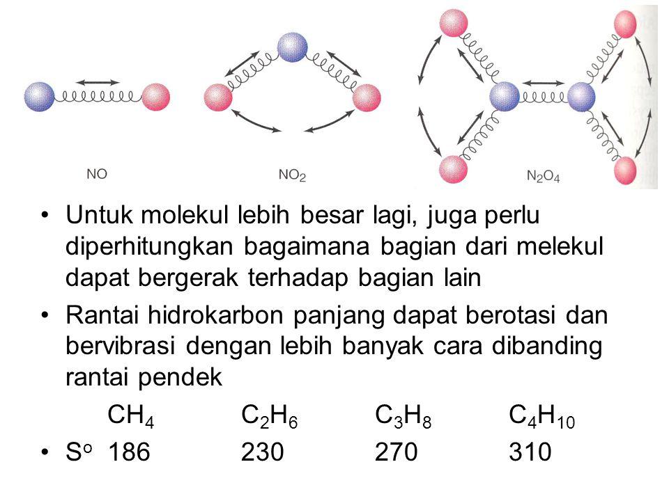 Untuk molekul lebih besar lagi, juga perlu diperhitungkan bagaimana bagian dari melekul dapat bergerak terhadap bagian lain Rantai hidrokarbon panjang
