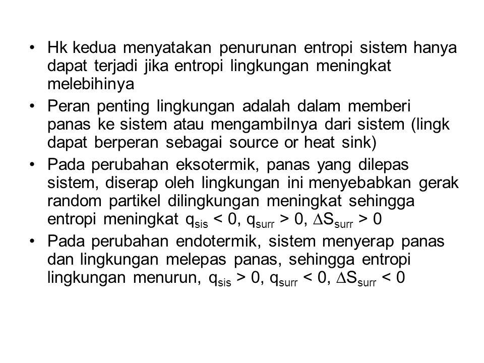 Hk kedua menyatakan penurunan entropi sistem hanya dapat terjadi jika entropi lingkungan meningkat melebihinya Peran penting lingkungan adalah dalam m