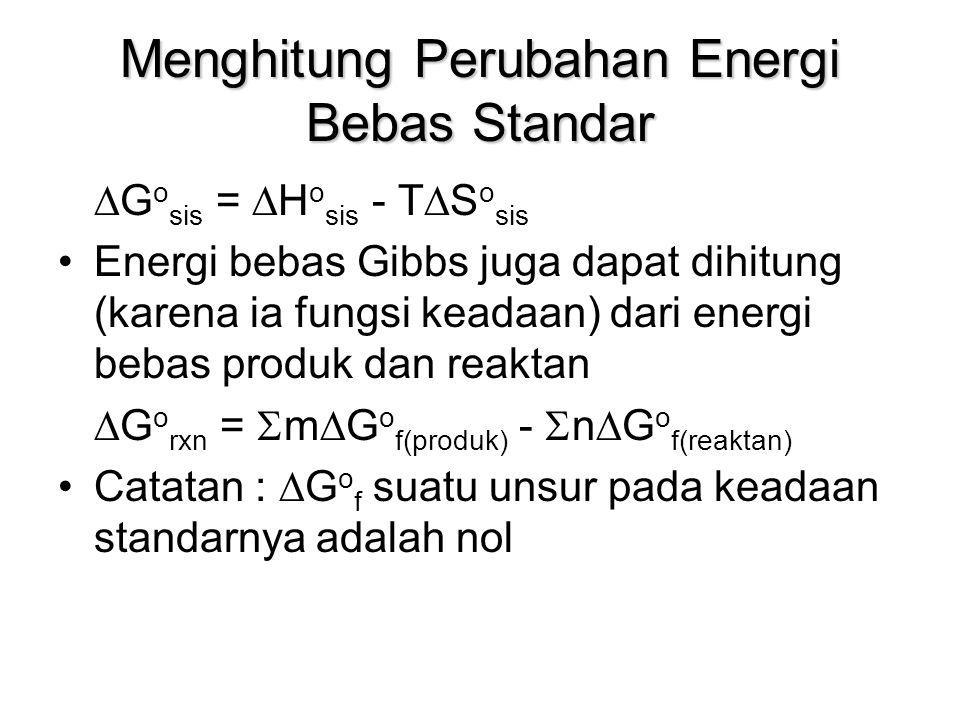 Menghitung Perubahan Energi Bebas Standar  G o sis =  H o sis - T  S o sis Energi bebas Gibbs juga dapat dihitung (karena ia fungsi keadaan) dari e