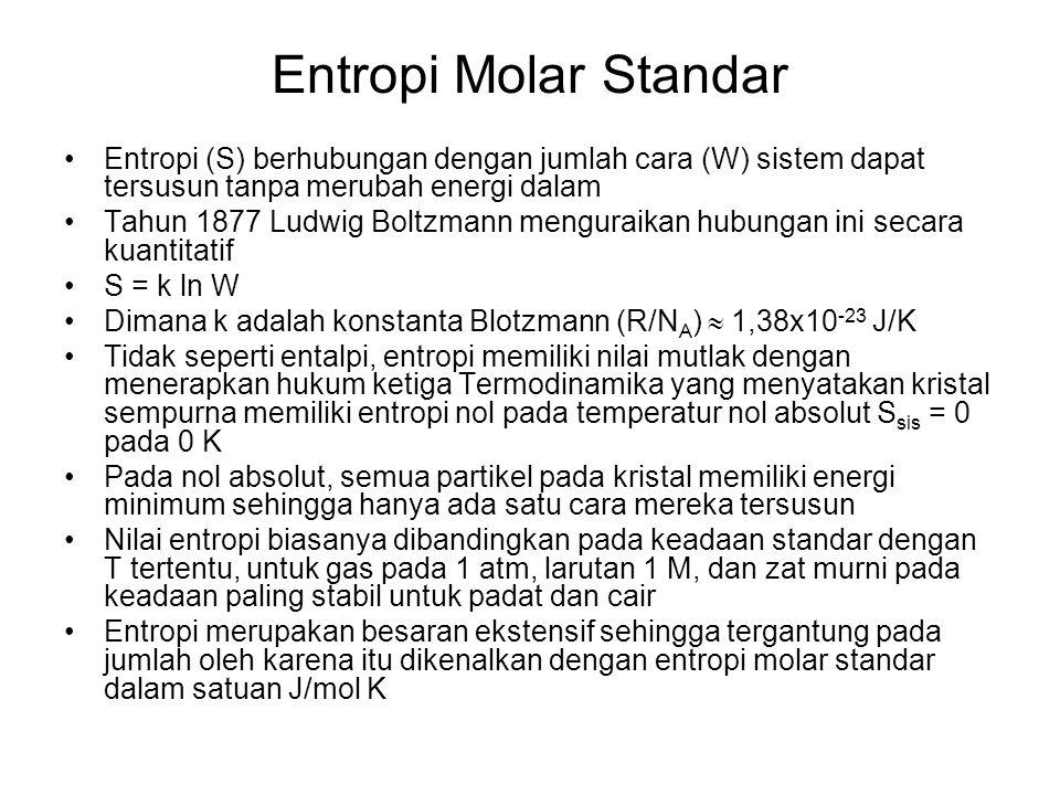 Entropi Molar Standar Entropi (S) berhubungan dengan jumlah cara (W) sistem dapat tersusun tanpa merubah energi dalam Tahun 1877 Ludwig Boltzmann meng