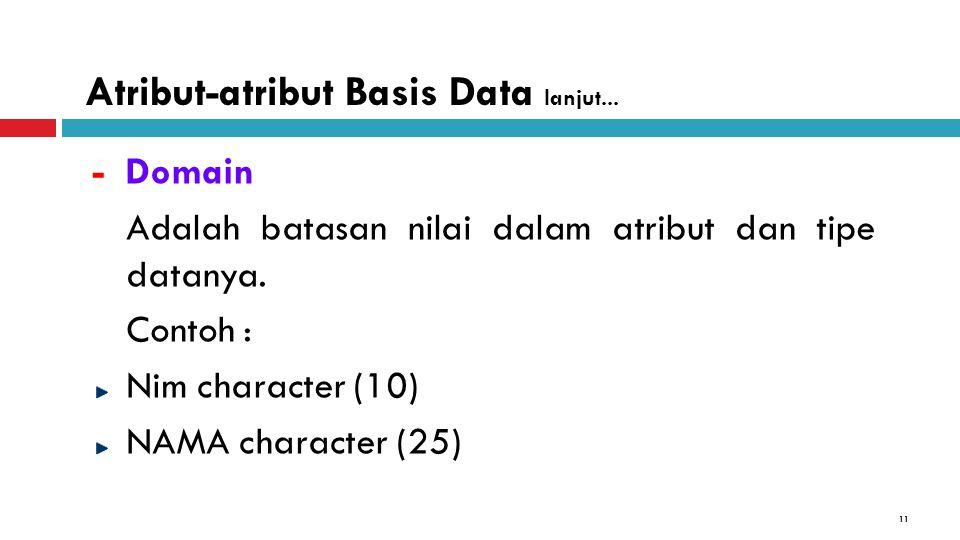 11 - Domain Adalah batasan nilai dalam atribut dan tipe datanya. Contoh : Nim character (10) NAMA character (25) Atribut-atribut Basis Data lanjut...