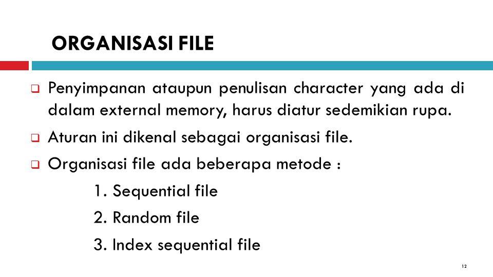 12  Penyimpanan ataupun penulisan character yang ada di dalam external memory, harus diatur sedemikian rupa.  Aturan ini dikenal sebagai organisasi
