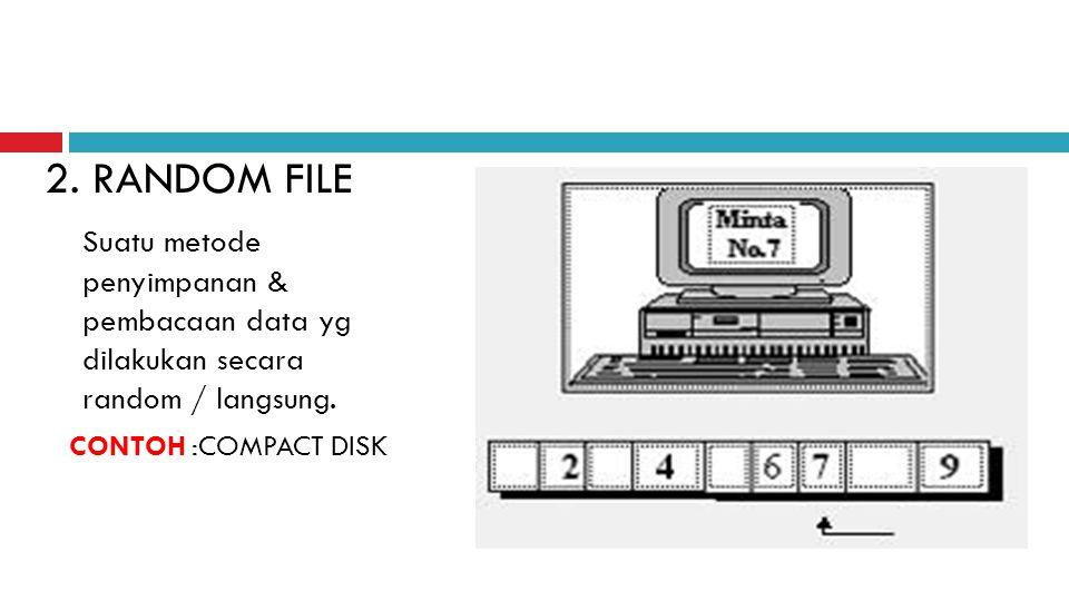 2. RANDOM FILE Suatu metode penyimpanan & pembacaan data yg dilakukan secara random / langsung. CONTOH :COMPACT DISK