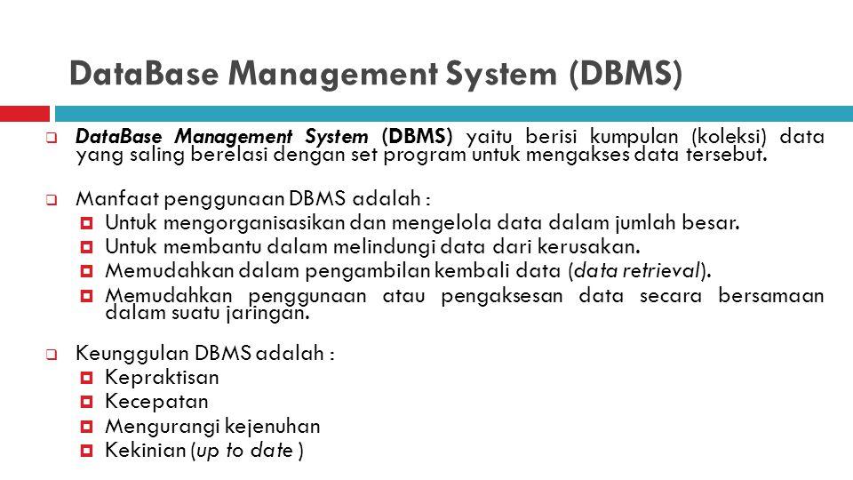 DataBase Management System (DBMS)  DataBase Management System (DBMS) yaitu berisi kumpulan (koleksi) data yang saling berelasi dengan set program untuk mengakses data tersebut.
