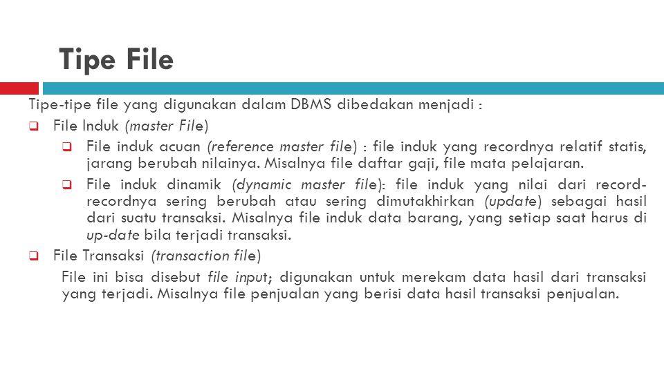 Tipe-tipe file yang digunakan dalam DBMS dibedakan menjadi :  File Induk (master File)  File induk acuan (reference master file) : file induk yang recordnya relatif statis, jarang berubah nilainya.